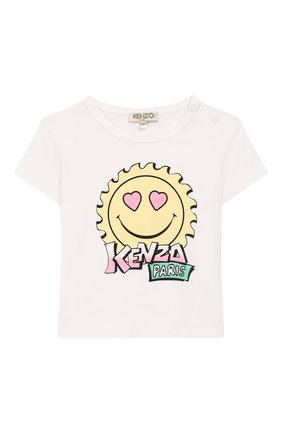 Детский хлопковая футболка KENZO белого цвета, арт. KQ10037 | Фото 1