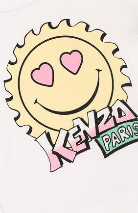 Детский хлопковая футболка KENZO белого цвета, арт. KQ10037   Фото 3