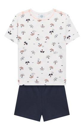 Детский хлопковая пижама SANETTA белого цвета, арт. 221536 0010 | Фото 1