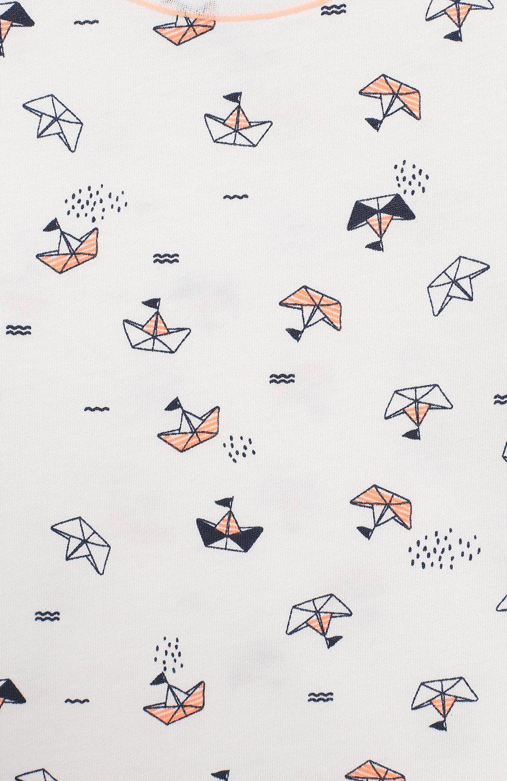Детский хлопковая пижама SANETTA белого цвета, арт. 221536 0010 | Фото 6