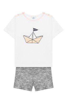 Детский хлопковая пижама SANETTA белого цвета, арт. 221538 0010 | Фото 1
