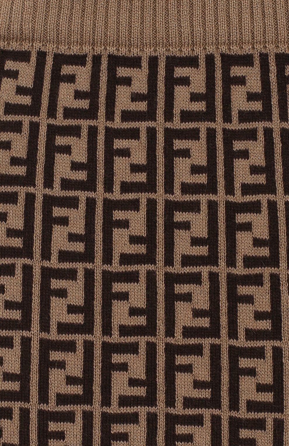 Детские хлопковые джоггеры FENDI коричневого цвета, арт. BUG012/A3TE/3M-9M | Фото 3