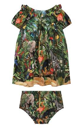 Женский комплект из платья и шорт DOLCE & GABBANA зеленого цвета, арт. L22DI9/G7W0E | Фото 1