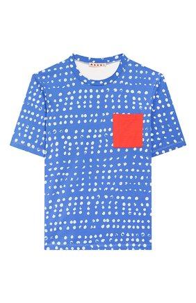 Детская хлопковая футболка MARNI синего цвета, арт. M002MY-M00HX | Фото 1