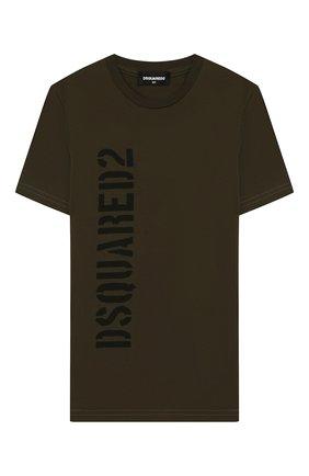 Детская хлопковая футболка DSQUARED2 хаки цвета, арт. DQ03W6-D00W5 | Фото 1