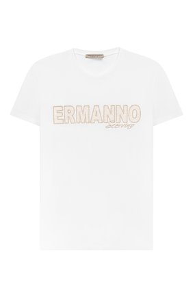 Детская хлопковая футболка ERMANNO SCERVINO белого цвета, арт. 46I TS05 JEA/4-8 | Фото 1