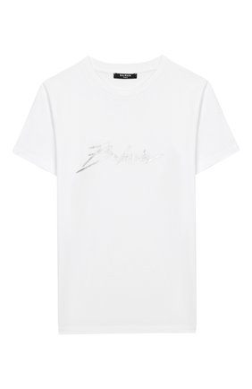 Детская хлопковая футболка BALMAIN белого цвета, арт. 6M8741/MX030/12-16 | Фото 1