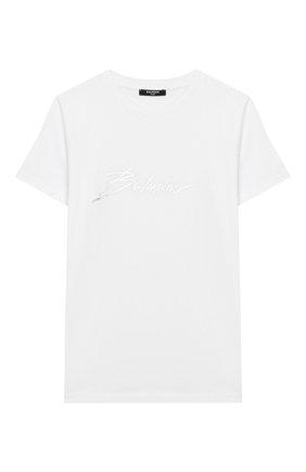 Детская хлопковая футболка BALMAIN белого цвета, арт. 6M8741/MX030/4-10 | Фото 1