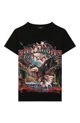 Детская хлопковая футболка BALMAIN черного цвета, арт. 6M8561/MX500/12-16 | Фото 1