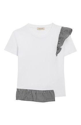 Детская хлопковая футболка TWINSET белого цвета, арт. 201GJ2096/6A-10A | Фото 1