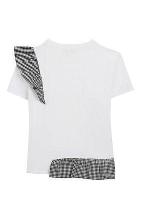 Детская хлопковая футболка TWINSET белого цвета, арт. 201GJ2096/6A-10A | Фото 2