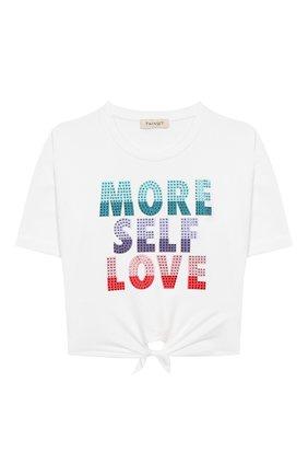 Детская хлопковая футболка TWINSET белого цвета, арт. 201GJ2121/6A-10A | Фото 1
