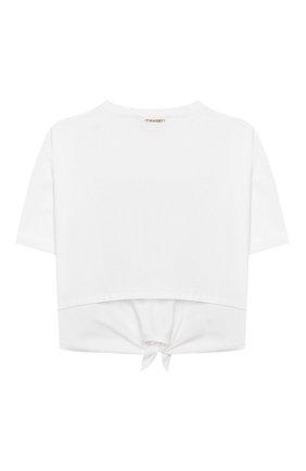 Детская хлопковая футболка TWINSET белого цвета, арт. 201GJ2121/6A-10A | Фото 2
