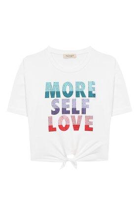 Детская хлопковая футболка TWINSET белого цвета, арт. 201GJ2121/12A-16A | Фото 1
