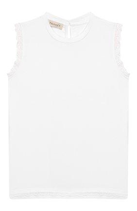 Детский хлопковый топ TWINSET белого цвета, арт. 201GJ2231/12A-16A | Фото 1