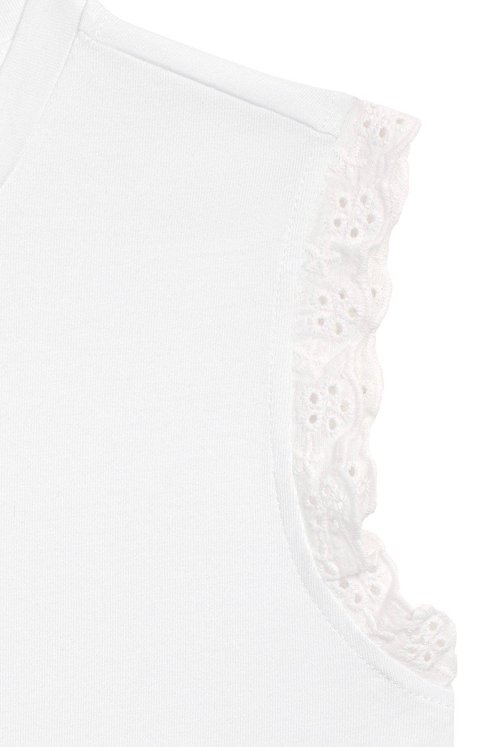 Детский хлопковый топ TWINSET белого цвета, арт. 201GJ2231/12A-16A   Фото 3 (Рукава: Короткие, Без рукавов; Материал внешний: Хлопок; Ростовка одежда: 12 лет   152 см, 13 - 15 лет   158 см)