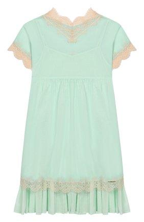 Детское хлопковое платье TWINSET голубого цвета, арт. 201GJ2271/6A-10A | Фото 1