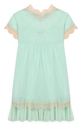 Детское хлопковое платье TWINSET голубого цвета, арт. 201GJ2271/6A-10A | Фото 2