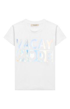 Детская хлопковая футболка TWINSET белого цвета, арт. 201GJ2317/6A-10A | Фото 1