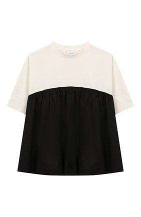 Детская хлопковая футболка UNLABEL черно-белого цвета, арт. DAHLIA-2/53-IN007-A/8A-10A | Фото 1