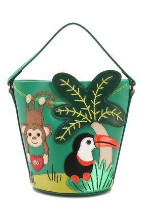 Детская кожаная сумка DOLCE & GABBANA зеленого цвета, арт. EB0006/AB776 | Фото 1