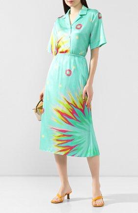Женская шелковая юбка POUSTOVIT зеленого цвета, арт. ss20P-6340   Фото 2