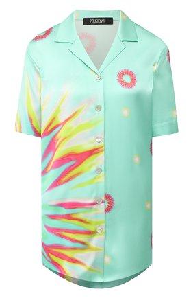 Женская шелковая рубашка POUSTOVIT зеленого цвета, арт. ss20P-4213 | Фото 1