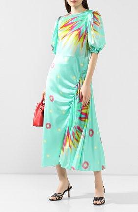 Женское шелковое платье POUSTOVIT зеленого цвета, арт. ss20P-5270 | Фото 2