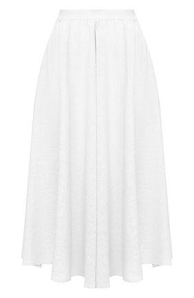 Женская льняная юбка 120% LINO белого цвета, арт. R0W5099/B317/000   Фото 1