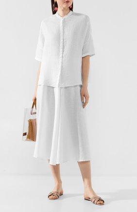 Женская льняная юбка 120% LINO белого цвета, арт. R0W5099/B317/000   Фото 2