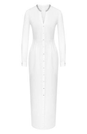 Женское льняное платье 120% LINO белого цвета, арт. R0W40FU/0115/002 | Фото 1