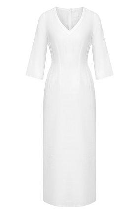 Женское льняное платье 120% LINO белого цвета, арт. R0W40FT/0115/000 | Фото 1