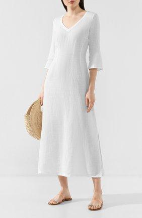 Женское льняное платье 120% LINO белого цвета, арт. R0W40FT/0115/000 | Фото 2