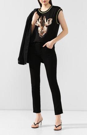 Женская хлопковая футболка DOLCE & GABBANA черного цвета, арт. F8L34Z/G7WNU | Фото 2