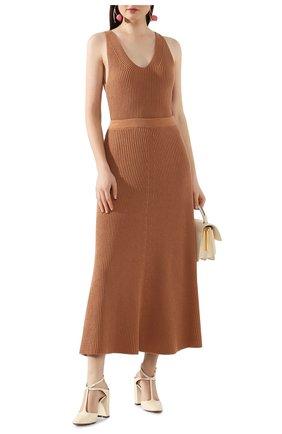 Женская хлопковая юбка JOSEPH коричневого цвета, арт. JF004313 | Фото 2
