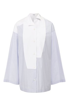 Женская хлопковая рубашка LOEWE голубого цвета, арт. S2109410GH | Фото 1