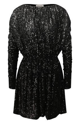 Женское платье с пайетками SAINT LAURENT черного цвета, арт. 611963/YBSH2 | Фото 1