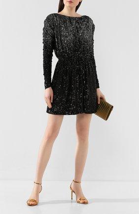 Женское платье с пайетками SAINT LAURENT черного цвета, арт. 611963/YBSH2 | Фото 2