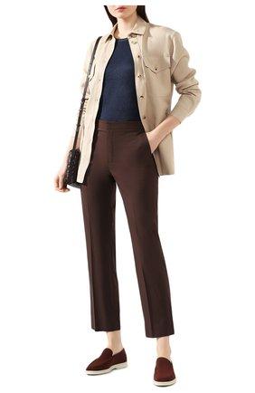Женские хлопковые брюки LORO PIANA коричневого цвета, арт. FAL1273   Фото 2