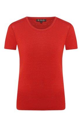 Женская льняная футболка LORO PIANA красного цвета, арт. FAD5396 | Фото 1 (Материал внешний: Лен; Длина (для топов): Стандартные; Принт: Без принта; Стили: Классический, Минимализм, Кэжуэл; Рукава: Короткие; Женское Кросс-КТ: Футболка-одежда; Статус проверки: Проверена категория)