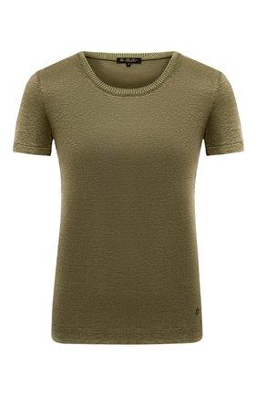 Женская льняная футболка LORO PIANA хаки цвета, арт. FAD5396 | Фото 1