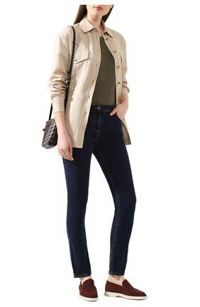 Женская льняная футболка LORO PIANA хаки цвета, арт. FAD5396 | Фото 2