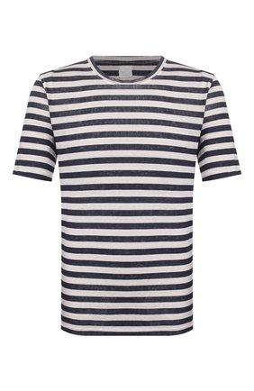 Мужская льняная футболка 120% LINO разноцветного цвета, арт. R0M7186/F781/300 | Фото 1