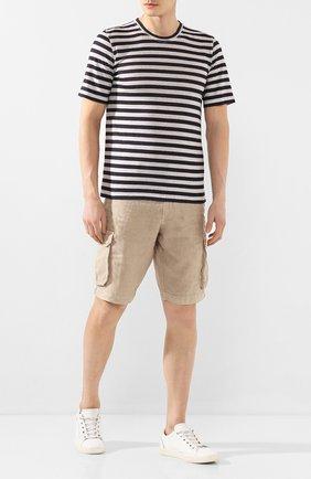 Мужская льняная футболка 120% LINO разноцветного цвета, арт. R0M7186/F781/300 | Фото 2