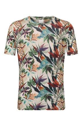 Мужская льняная футболка 120% LINO разноцветного цвета, арт. R0M7186/F776/300 | Фото 1