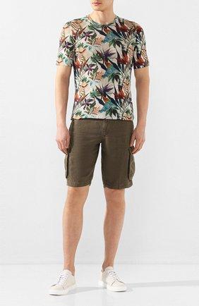 Мужская льняная футболка 120% LINO разноцветного цвета, арт. R0M7186/F776/300 | Фото 2
