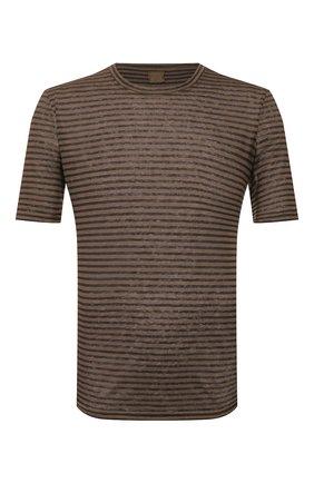 Мужская льняная футболка 120% LINO хаки цвета, арт. R0M7186/E738/300 | Фото 1