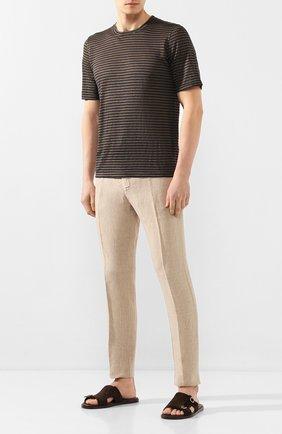 Мужская льняная футболка 120% LINO хаки цвета, арт. R0M7186/E738/300 | Фото 2