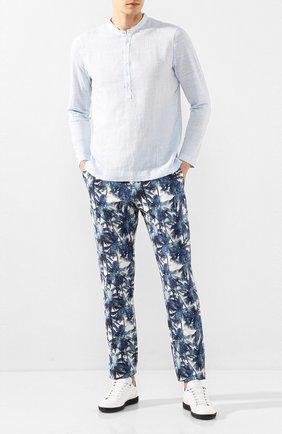 Мужской льняные брюки 120% LINO синего цвета, арт. R0M299M/F795/000 | Фото 2