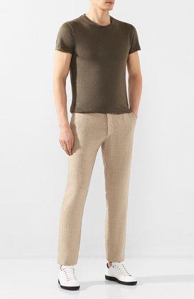 Мужской льняные брюки 120% LINO бежевого цвета, арт. R0M299M/0253/000 | Фото 2